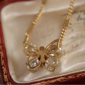 NEW 18K Gold Plated Diamond Butterfly Necklace